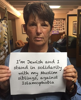 Penny Rosenwasser, March 2017. Standing against Islamophobia.